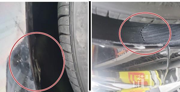 타이어뱅크 직원 과실로 A씨의 차량에 훼손됐다. [사진=제보자]
